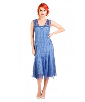 Jackie 1920s Flapper Style Dress in Periwinkle by Nataya