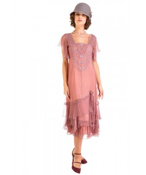 Alexa 1920s Flapper Style Dress in Mauve by Nataya