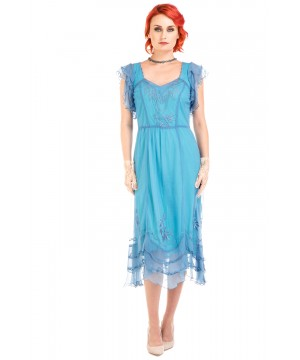 Olivia 1920s Flapper Style Dress in Turquoise by Nataya