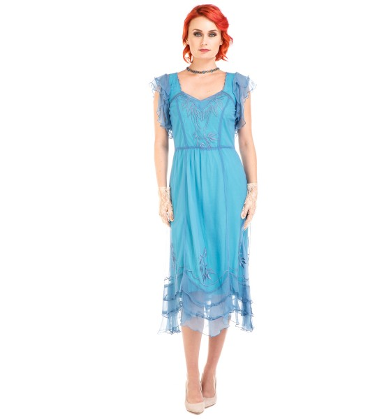 Age of Love Olivia 1920s Flapper Style Dress in Turquoise by Nataya