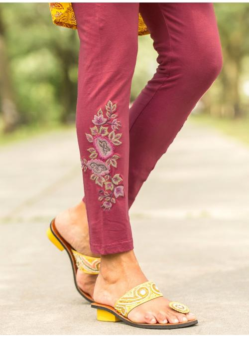 Vintage Style Tapestry Legging in Raspberry by April Cornell