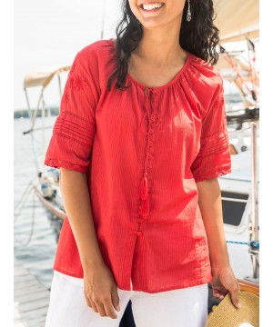Vintage Inspired Blouse in Red by April Cornell