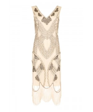 Roaring 20s Fringe Dress in Nude Blush