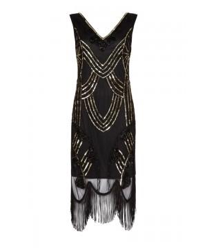 Roaring 20s Fringe Dress in Black Gold