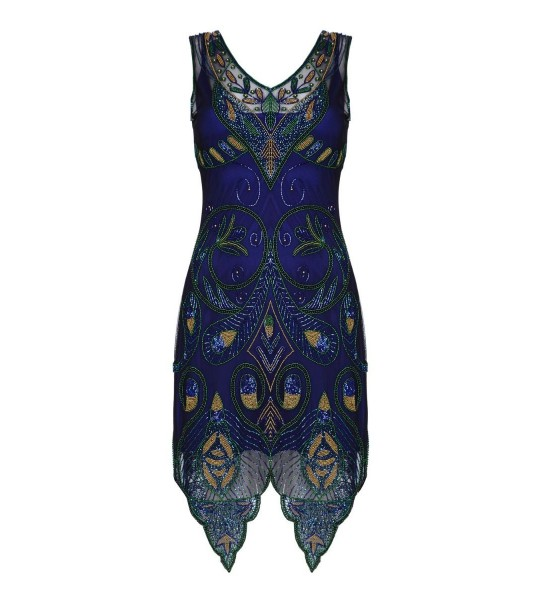 Flapper Style Peacock Dress in Navy Blue