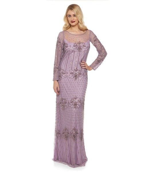 1920s Inspired Evening Maxi Dress in Lavender
