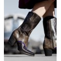 Basanty Mid-Calf Cowgirl Boots in Black Taupe - SOLD OUT