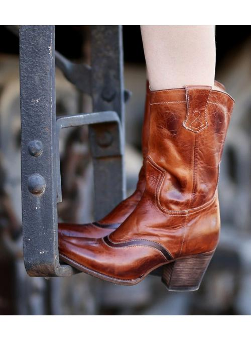 Basanty Mid-Calf Cowgirl Boots in Cognac by Oak Tree Farms