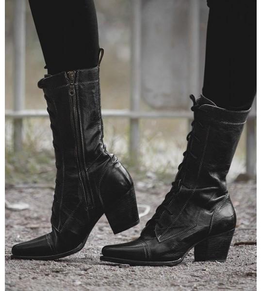 Baisley Modern Vintage Boots in Black Rustic by Oak Tree Farms