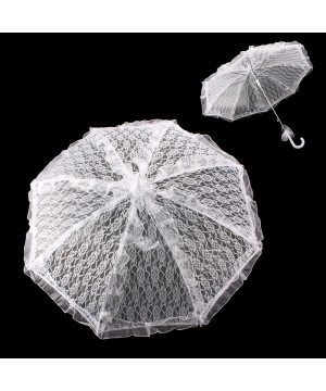 Vintage Style Bridal Lace Parasol with Tulle Ruffles