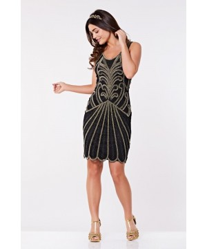 Art Deco Cocktail Dress in Black Gold