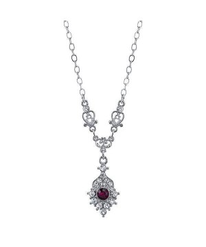 Downton Abbey Round Amethyst Necklace