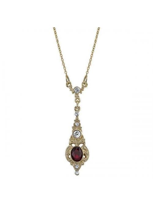 Downton Abbey Oval Red Crystal Necklace by 1928 Jewelry