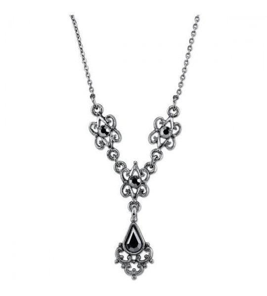 Downton Abbey Hematite Crystal Y Necklace by 1928 Jewelry