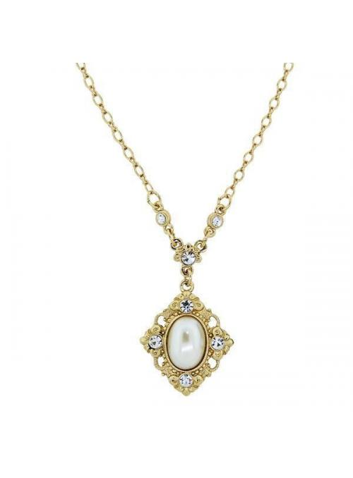 Downton Abbey Simulated Pearl and Crystal Pendant Necklace by 1928 Jewelry