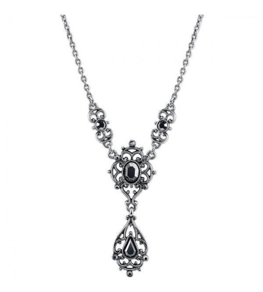 Downton Abbey Hematite Crystal Filigree Y Necklace by 1928 Jewelry