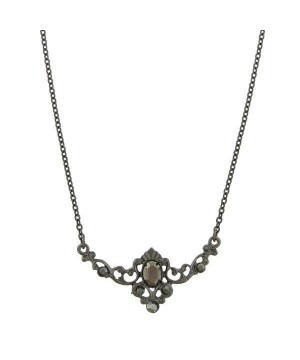 Downton Abbey Black Hematite Crystal Necklace by 1928 Jewelry
