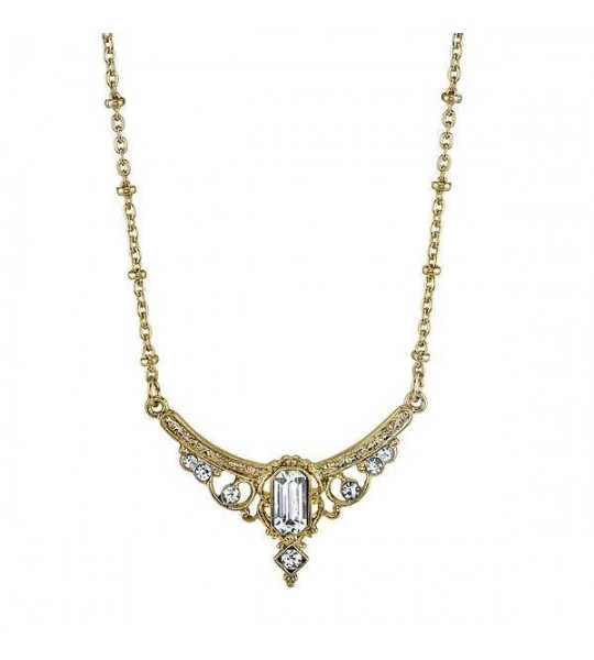 Downton Abbey Crystal Baguette Necklace by 1928 Jewelry
