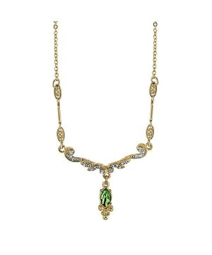 Downton Abbey Emerald Crystal Necklace by 1928 Jewelry