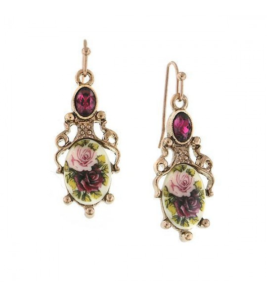 Victorian Inspired Rose Print Drop Earrings by 1928 Jewelry