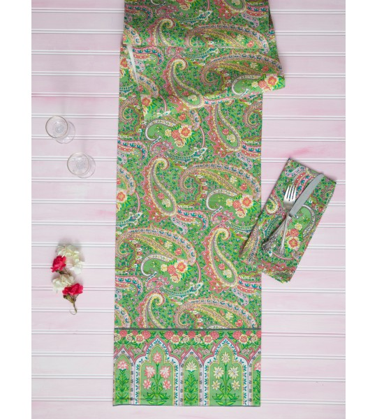 Apple Pie Cotton Runner in Green by April Cornell