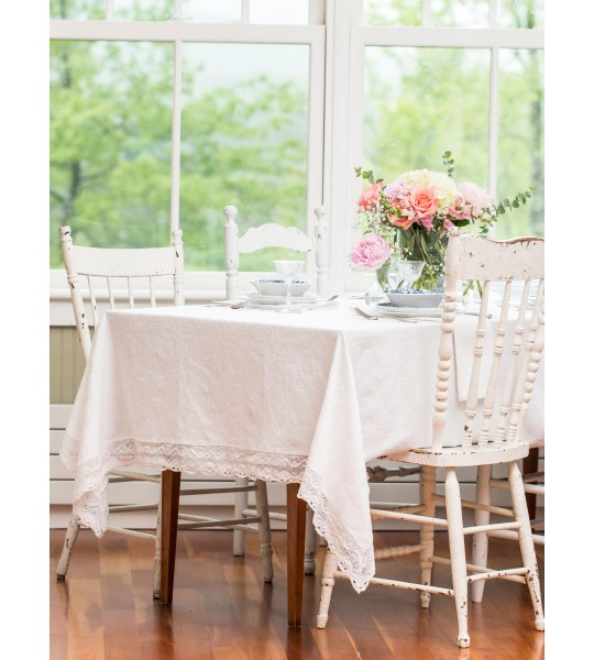 Nectarine Tart Jacquard Tablecloth in Ivory by April Cornell