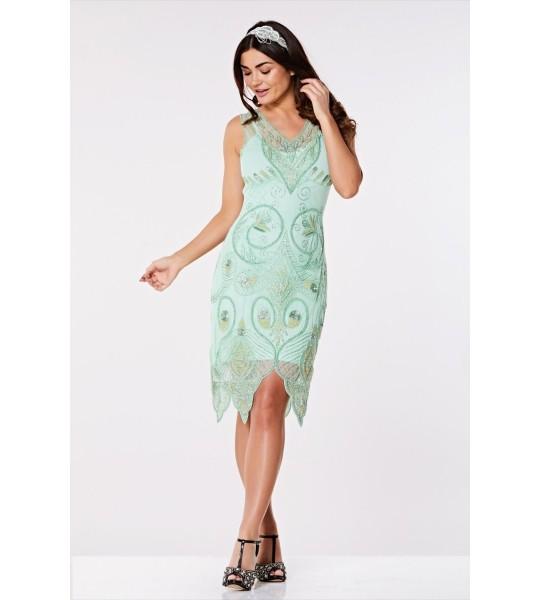 Flapper Style Peacock Dress in Mint