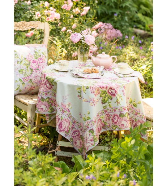 Strawberry Shortcake Round Tablecloth in Sage by April Cornell