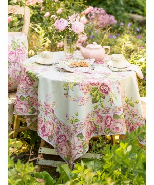 Strawberry Shortcake Tablecloth in Sage by April Cornell