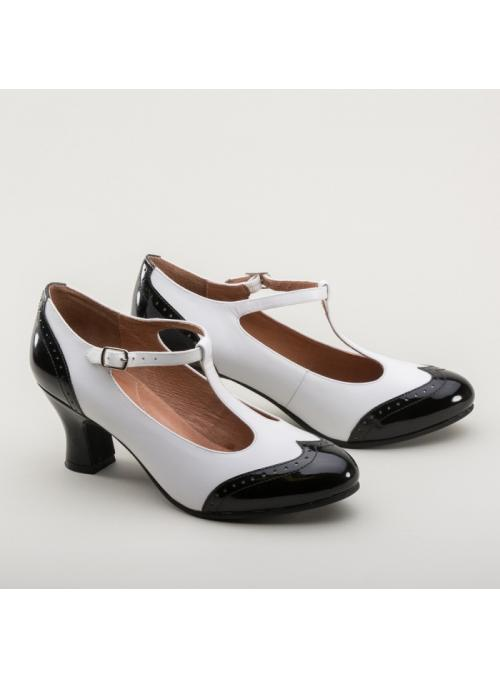 Gatsby Two-Tone Shoes in Black/White by Royal Vintage Shoes
