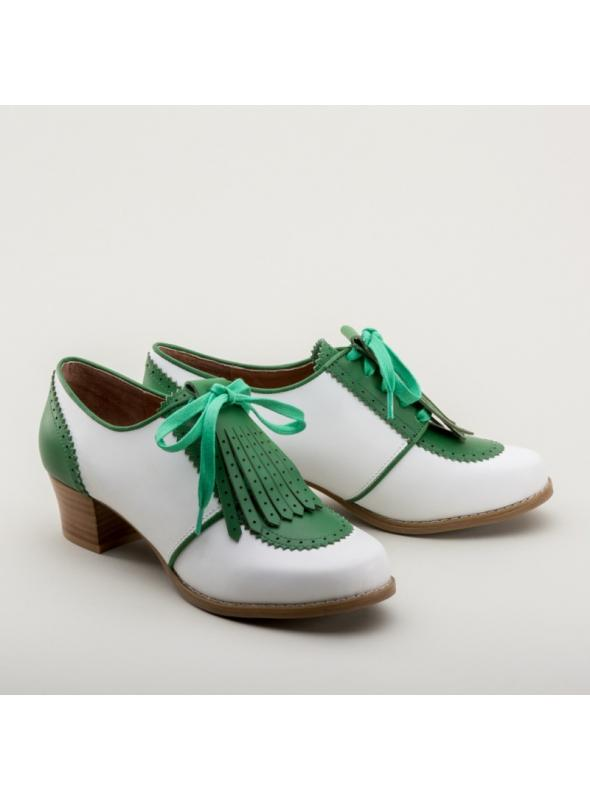 Hepburn 1940s Golf Shoes in Green/White by Royal Vintage Shoes