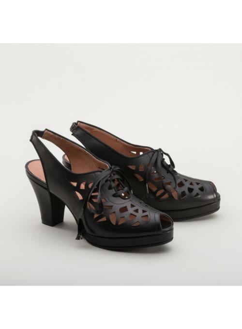 Rita 1940s Cutout Platform Slingbacks in Black by Royal Vintage Shoes