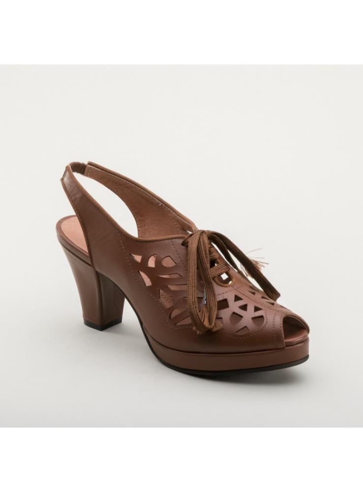 Rita 1940s Cutout Platform Slingbacks in Brown by Royal Vintage Shoes