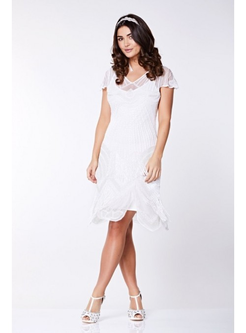 1920s Cocktail Party Dress in White