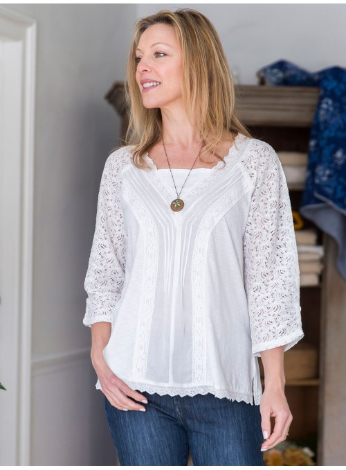 Juliet Blouse in White by April Cornell