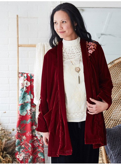 Autumn Cardigan in Scarlet by Aprill Cornell